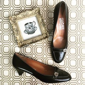 Ferragamo Leather Heels, Size 9
